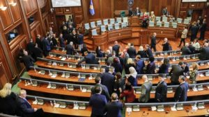 epa05954828 Kosovo lawmakers leaving parliament after dismissing the government in a no confidence vote during an extraordinary session in Prishtina, Kosovo, 10 May 2017. Media outlets report that the move is expected to trigger snap elections.  EPA/VALDRIN XHEMAJ